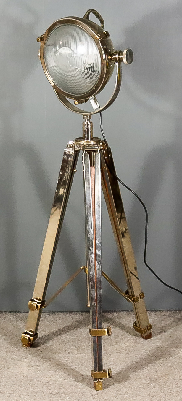 A Plated Metal and Brass Mounted Spotlight Floor Lamp and Tripod Stand, Modern, with 11ins