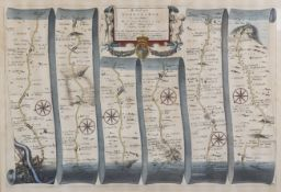 """John Ogilby (1600-1676) - Coloured engraving - """"The Road from London to Rye"""", 11.5ins x 17.75ins,"""