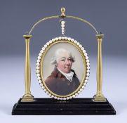 Late 18th Century British School - Miniature painting - Portrait of a gentleman wearing brown coat
