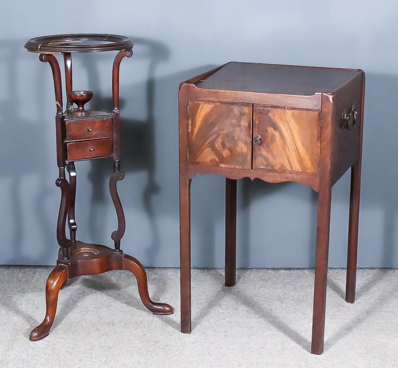"A George III Mahogany Square Tray Top Bedside Cabinet and a Mahogany Circular Wig Powder Stand of """
