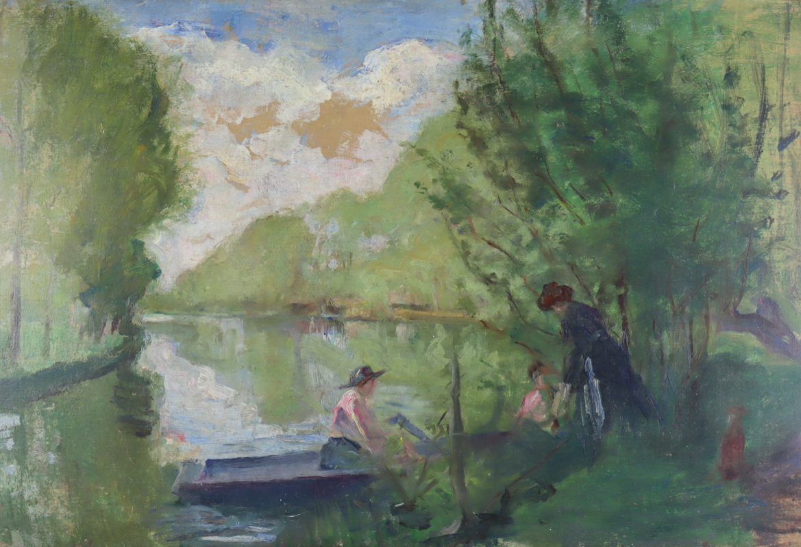 Albert De Belleroche (1864-1944) - Oil painting - Boating at Chateau Bun, relined canvas 16.25ins