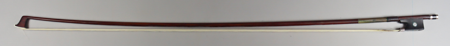 An English Violin Bow, 19th Century, stamped Dodd to shaft, with circular stick, ebony frog with