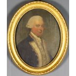 """18th Century English School - Two oil paintings - """"Admiral H..."""" - Half-length portrait of a naval"""