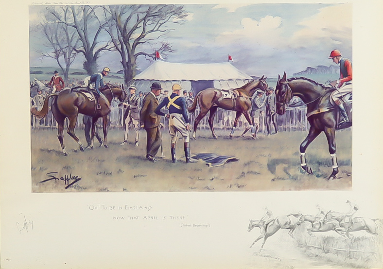 """Charles Johnson Payne (aka Snaffles - 1884-1967) - Coloured lithograph - """"Oh to be in England now"""