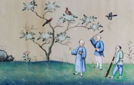 19th Century Chinese School - Gouache and watercolour on pith paper - Three hunting figures, with