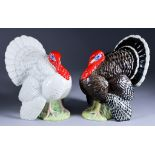 A Beswick Pottery Model of a Bronze Turkey, and another of a white turkey, both stamped 1957, each