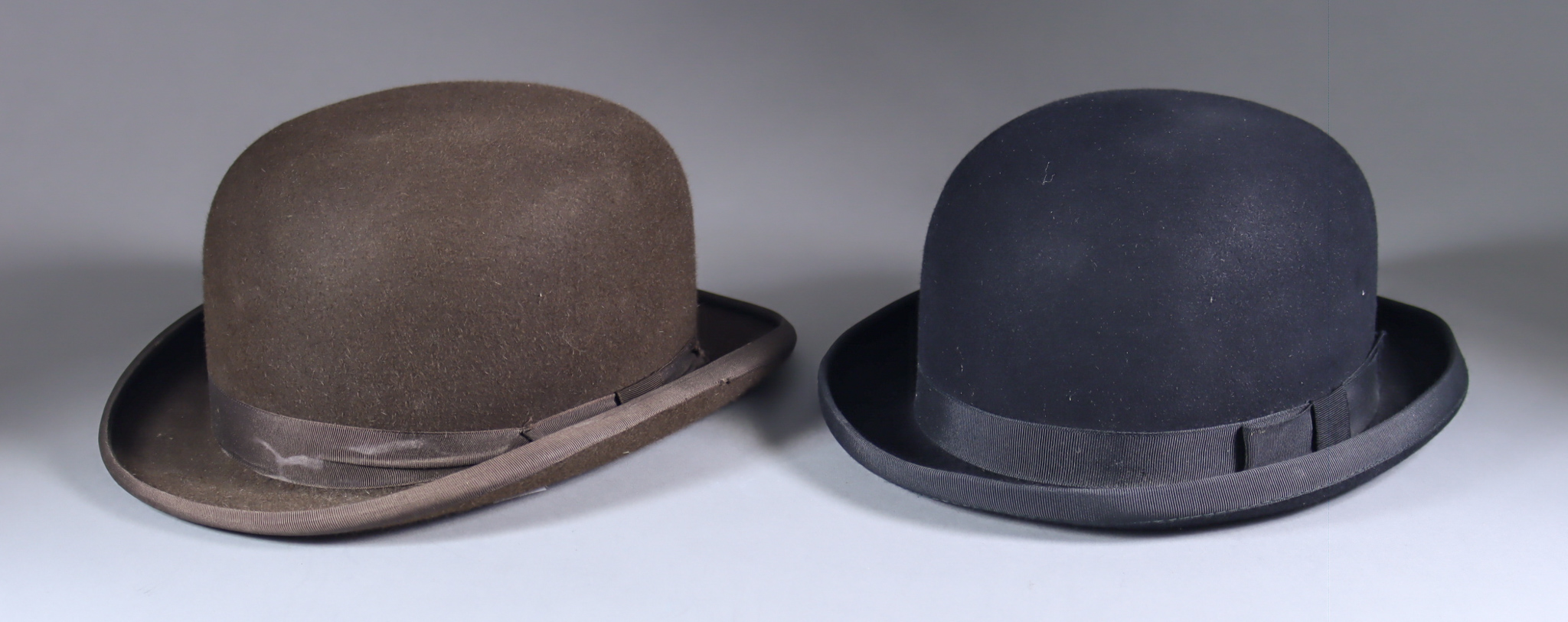 A Black Gresham Bowler Hat and a Brown Bowler Hat, the black hat from Failsworth, size 57, the brown