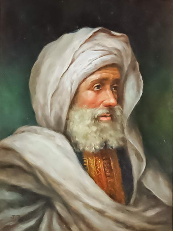 J. Dorrell (20th Century) - Oil painting - Portrait of an Arab gentleman, signed, board 15.5ins x