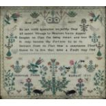 An English Needlework Sampler by Susannah Purkis Basham, Early 19th Century, worked in coloured