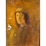 Italian School in Renaissance Manner - Oil painting - Shoulder-length portrait of a young man,