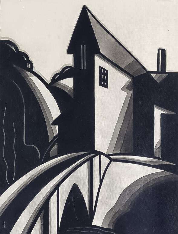 """Conway Martin (20th Century) - Two linocuts - """"The Mill House"""", signed and titled to mount, 12ins"""