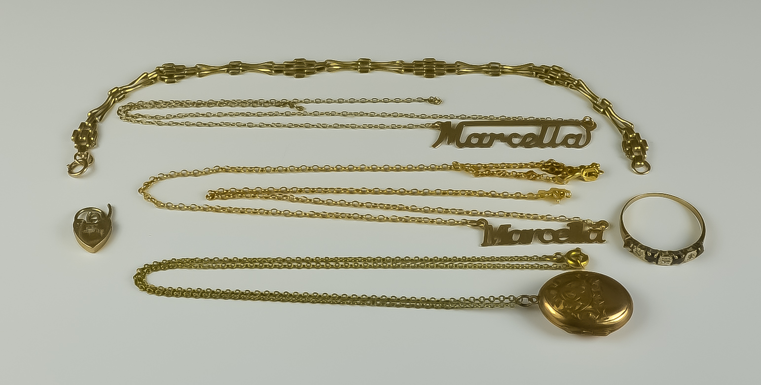 """A Mixed Lot of 9ct Gold, comprising - two necklaces suspending the girl's name """"Marcella"""", 480mm and"""