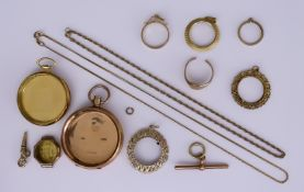 A Quantity of 9ct Gold, including - two watch cases, six sovereign mounts, one wristwatch case,