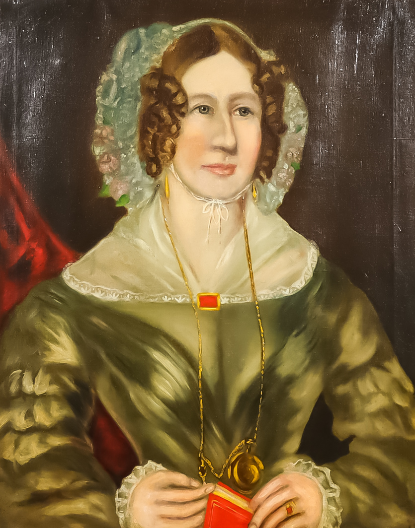 19th Century British School - Oil painting - Half-length portrait of a woman wearing lace trimmed