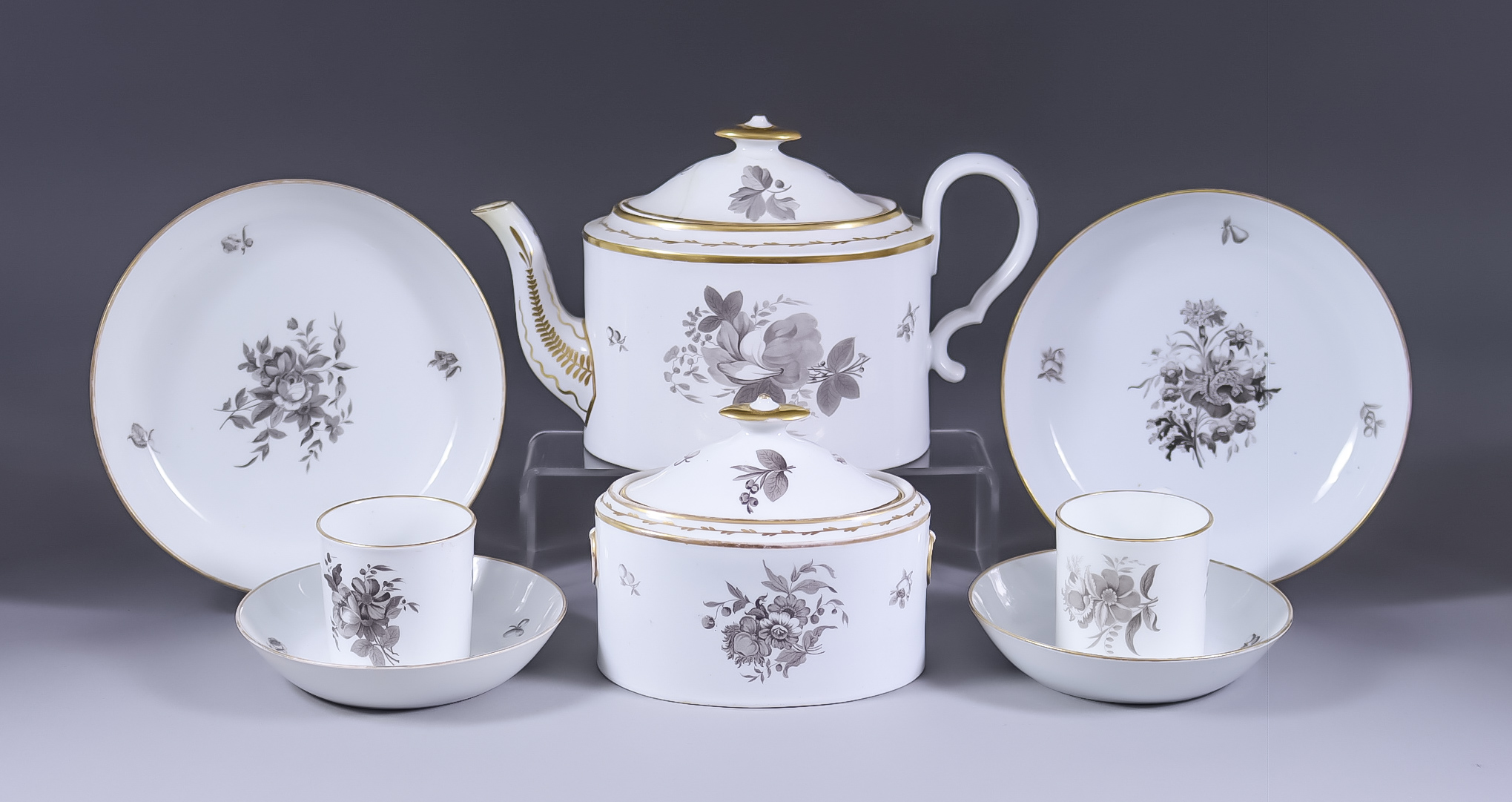 A Collection of English Bat Printed Bone China, Early 19th Century, including Copeland & Garrett