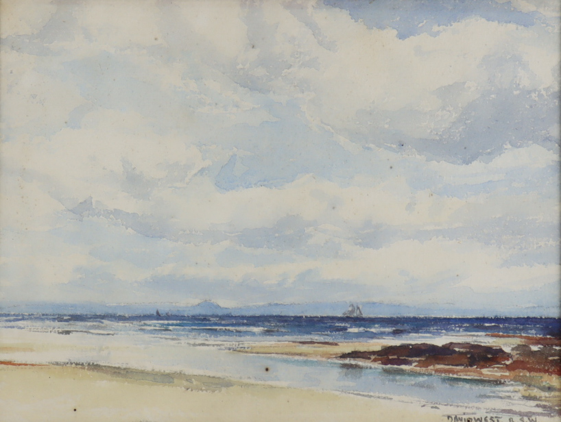 """David West (1868-1936) - Watercolour - """"The North Hills from Lossiemouth, Scotland"""", signed, 6.25ins"""