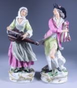 A Pair of Porcelain Figures of Musicians, 19th Century, after Meissen originals, she playing the