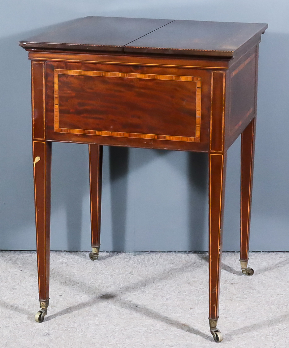 An Early 20th Century Mahogany Square Cocktail Table by Maple & Co, inlaid with rosewood bandings,