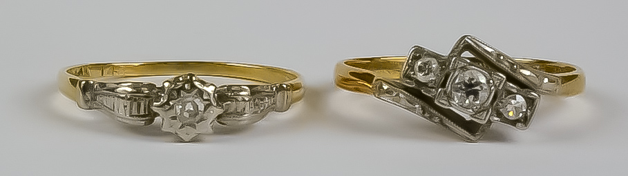 Two Diamond Rings, Modern, 18ct gold, one set with a solitaire diamond, approximately .10ct, size Q,
