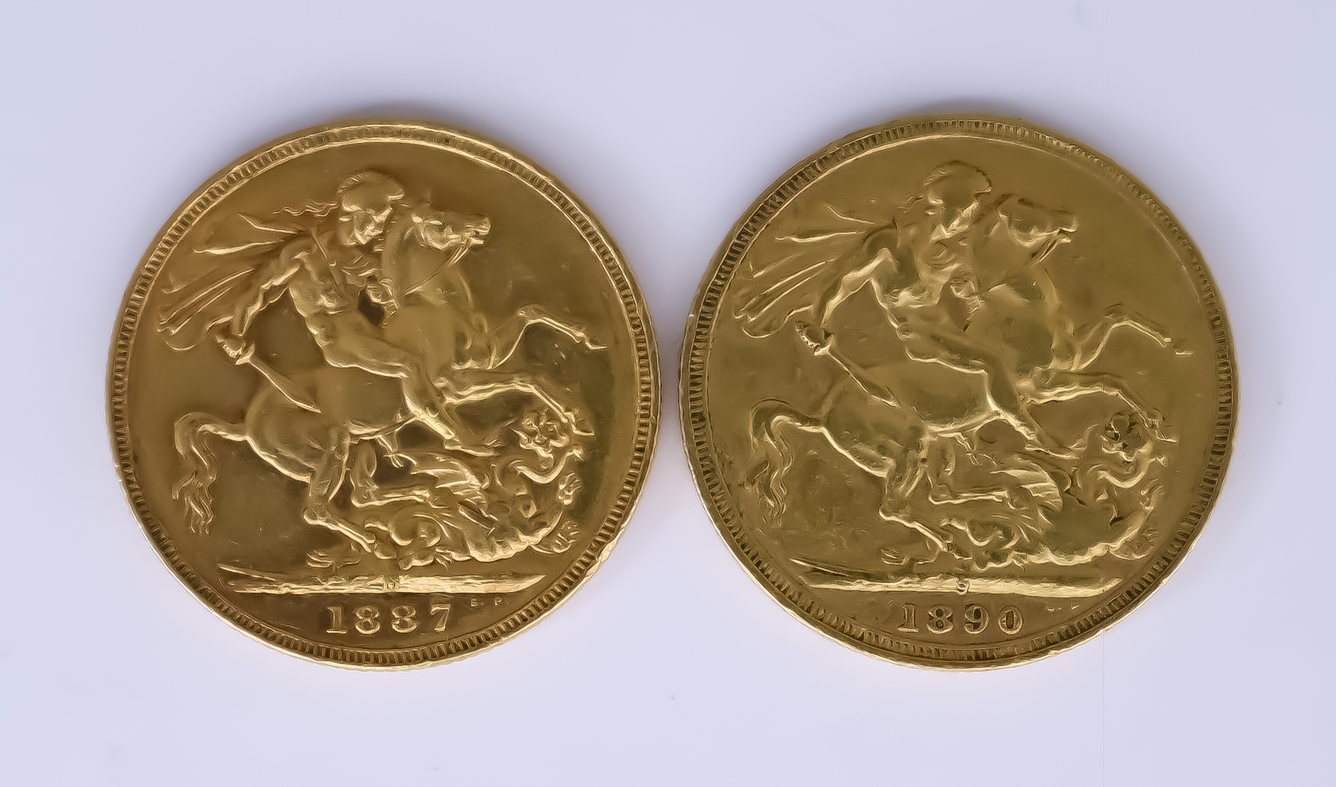 Two Victoria 1887 and 1890 Sovereigns