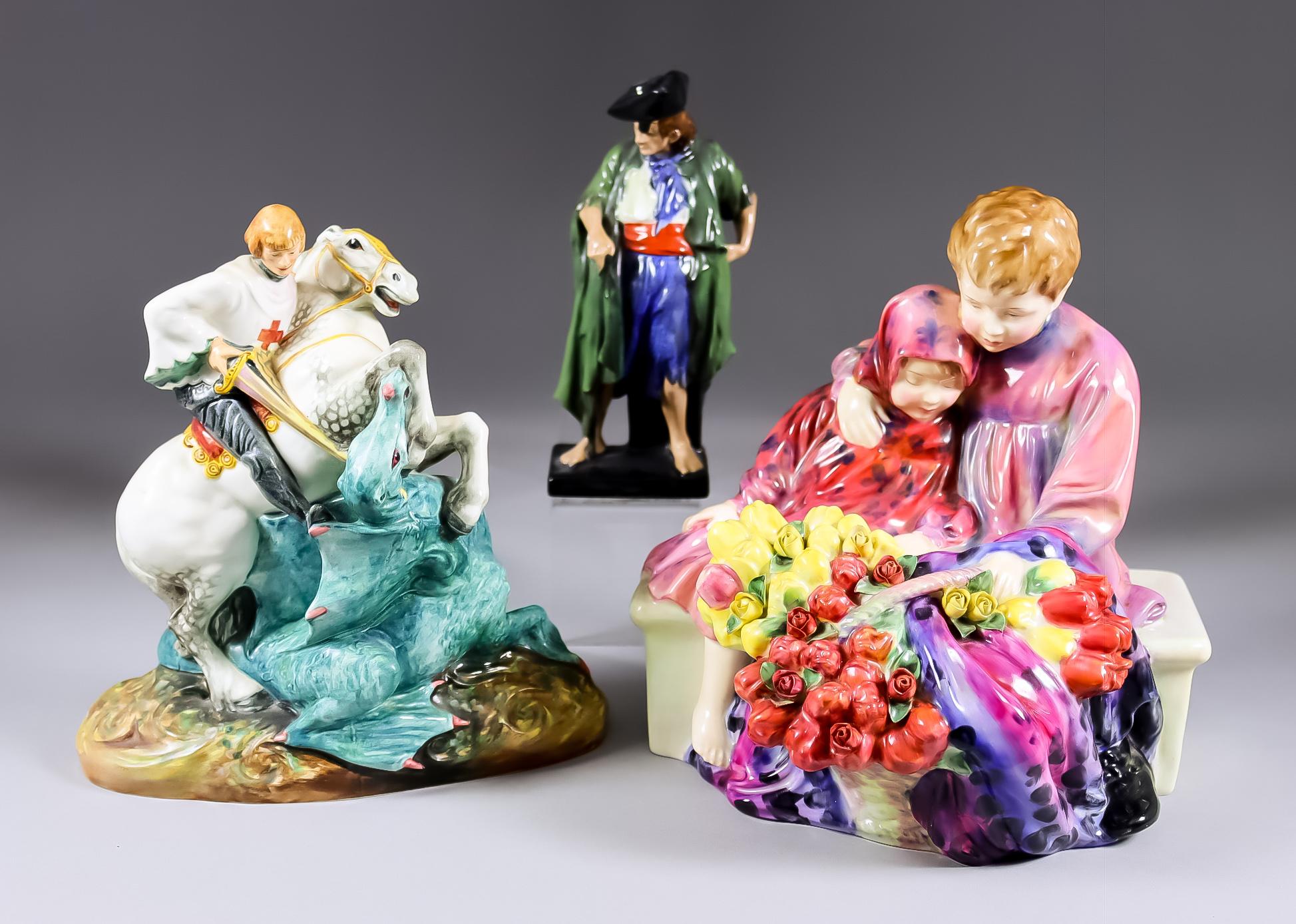 "Three Royal Doulton Pottery Figures - ""The Beggar"" (HN526), 6.5ins high, ""Flower Seller's"