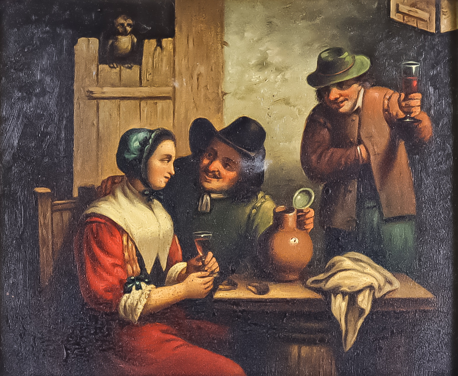 19th Century Dutch School - Pair of oil paintings - Interiors of inns with figures drinking and - Image 2 of 2