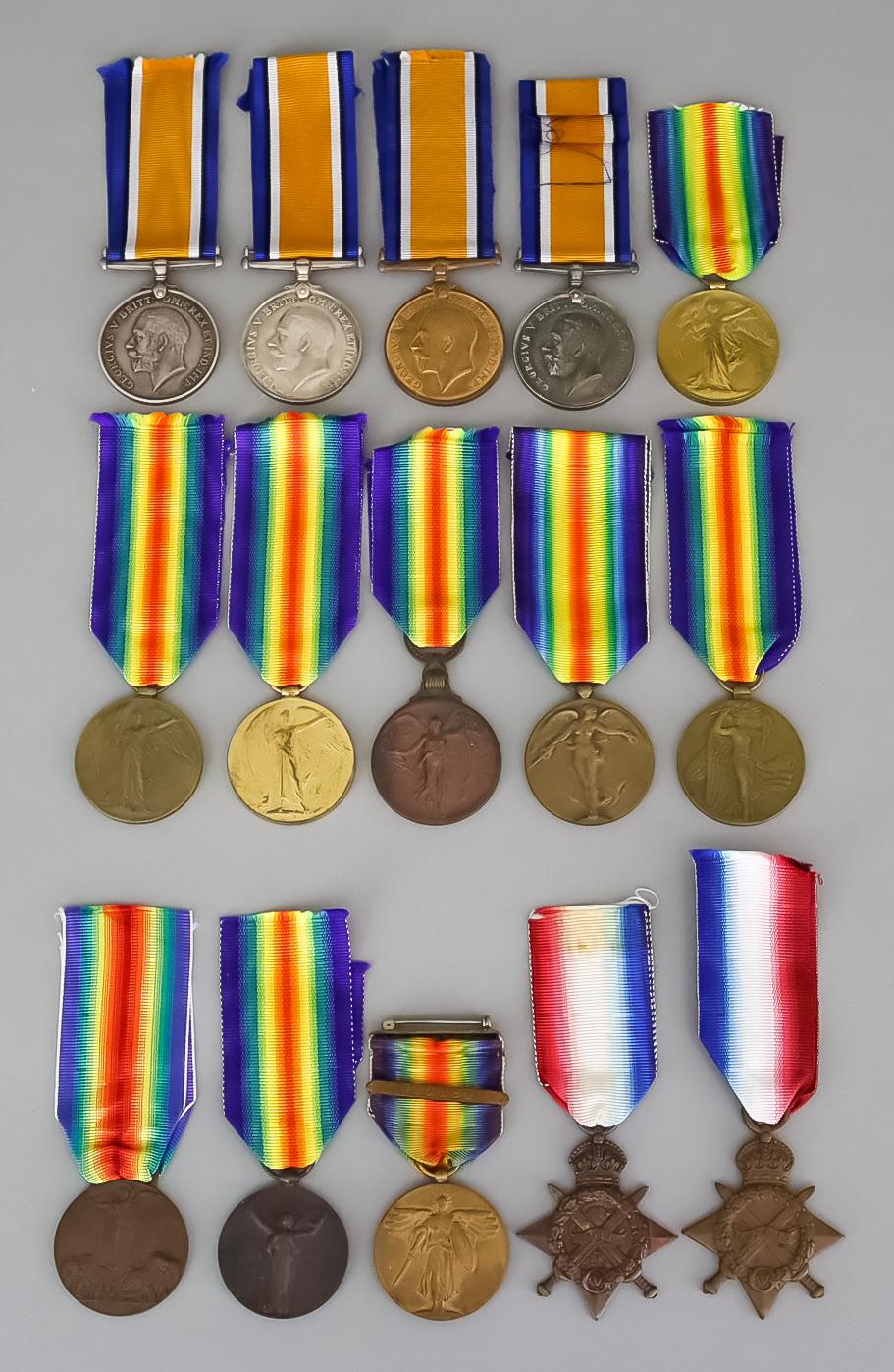 Four George V First World War War Medals, including - to 82272SJT.R.Wright.R.E., nine George V