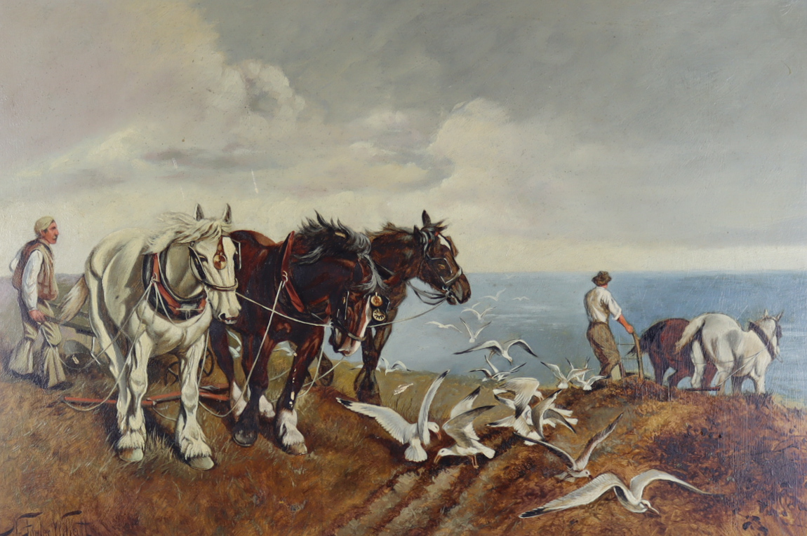 Norris Fowler Willatt (1859-1924) - Oil painting - Ploughing scene with heavy horses and seagulls,