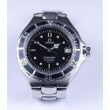 """An Omega """"Seamaster"""" Automatic Wristwatch, stainless steel case, 38mm, the black dial with"""