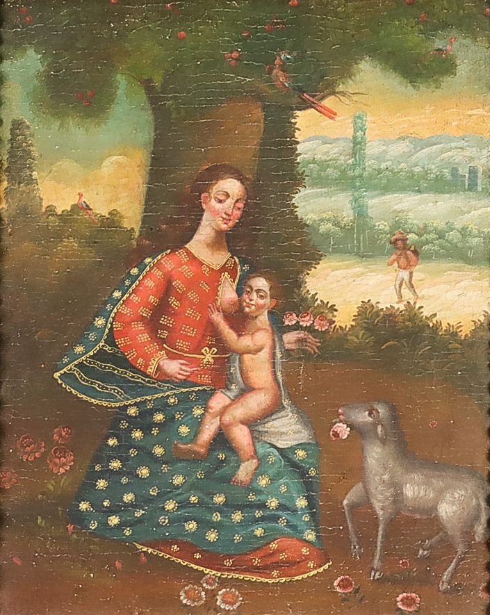Cuzco School (18th/19th Century) - Oil painting - Madonna and child with a lamb offering a flower,