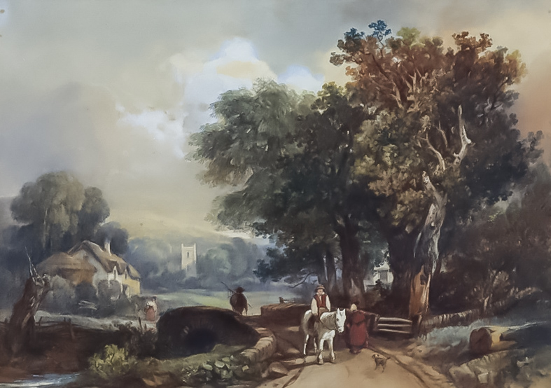 Manner of David Cox (1783-1859) - Watercolour - Rural landscape with figure on horseback to