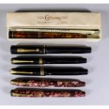 Six Fountain Pens by Conway Stewart, all with gold nibs
