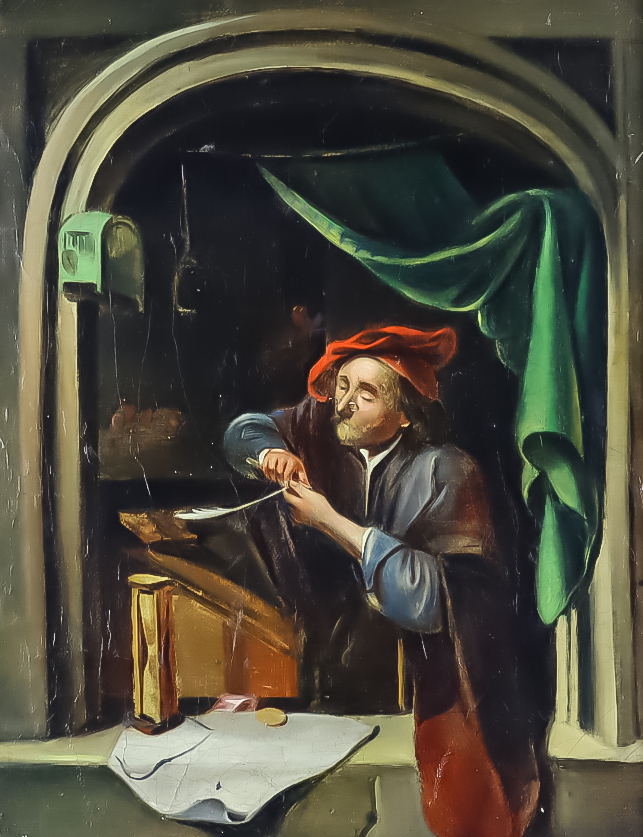 19th Century Continental School - Oil painting - Half length portrait of a scholar working by an