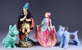 A Royal Doulton Pottery Figure of the Pied Piper, 8.25ins high, (HN2102), an early Royal Doulton
