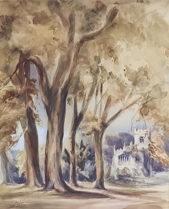 """Attributed to David Cox (1783-1859) - Watercolour - """"Babworth Church from the Library Window"""","""