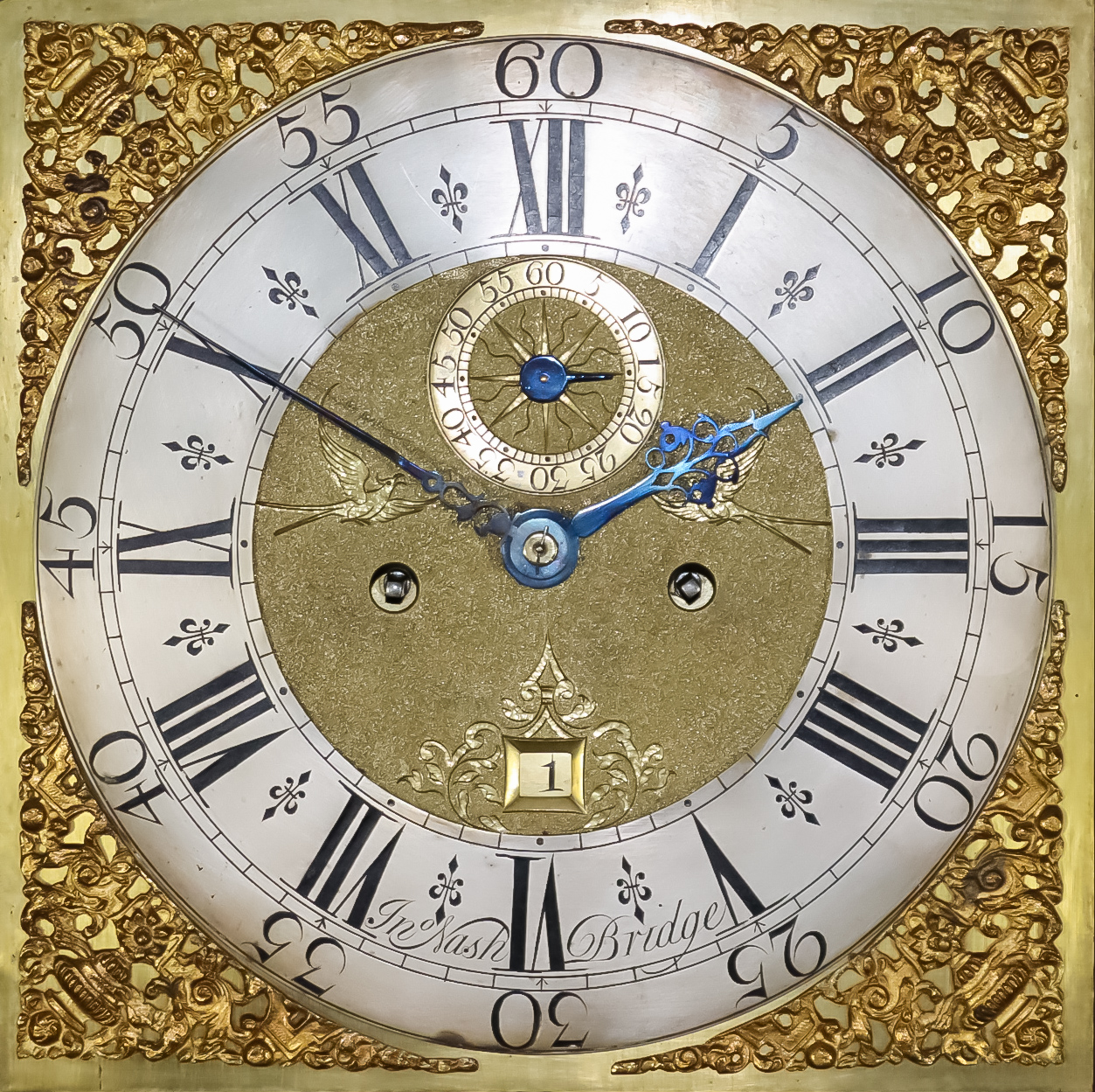 An 18th Century Oak Longcase Clock, by John Nash of Bridge, the 12ins square brass dial with - Image 2 of 2