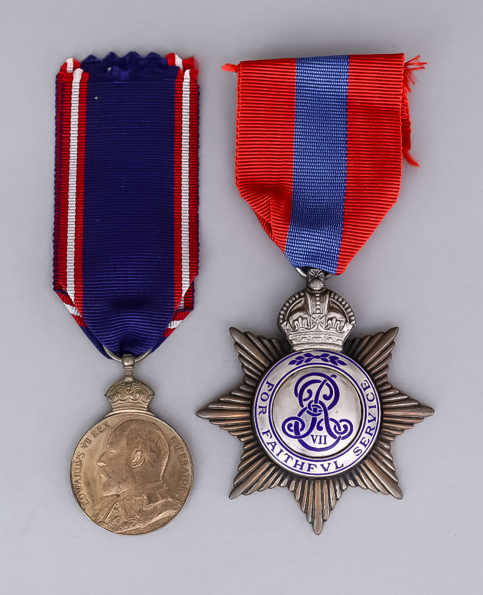An Edward VII Royal Victorian Medal (Bronze), and an Edward VII Imperial Service medal to Dorilas