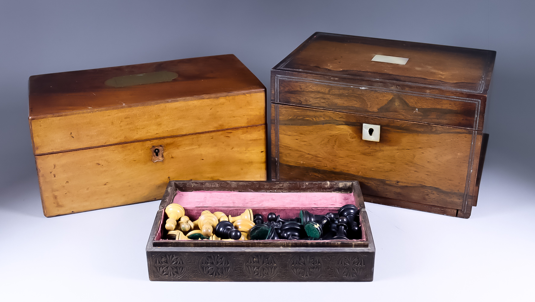 A Rosewood Rectangular Jewellery Box, Victorian, a Mahogany Rectangular Box, and a Chess Set, the