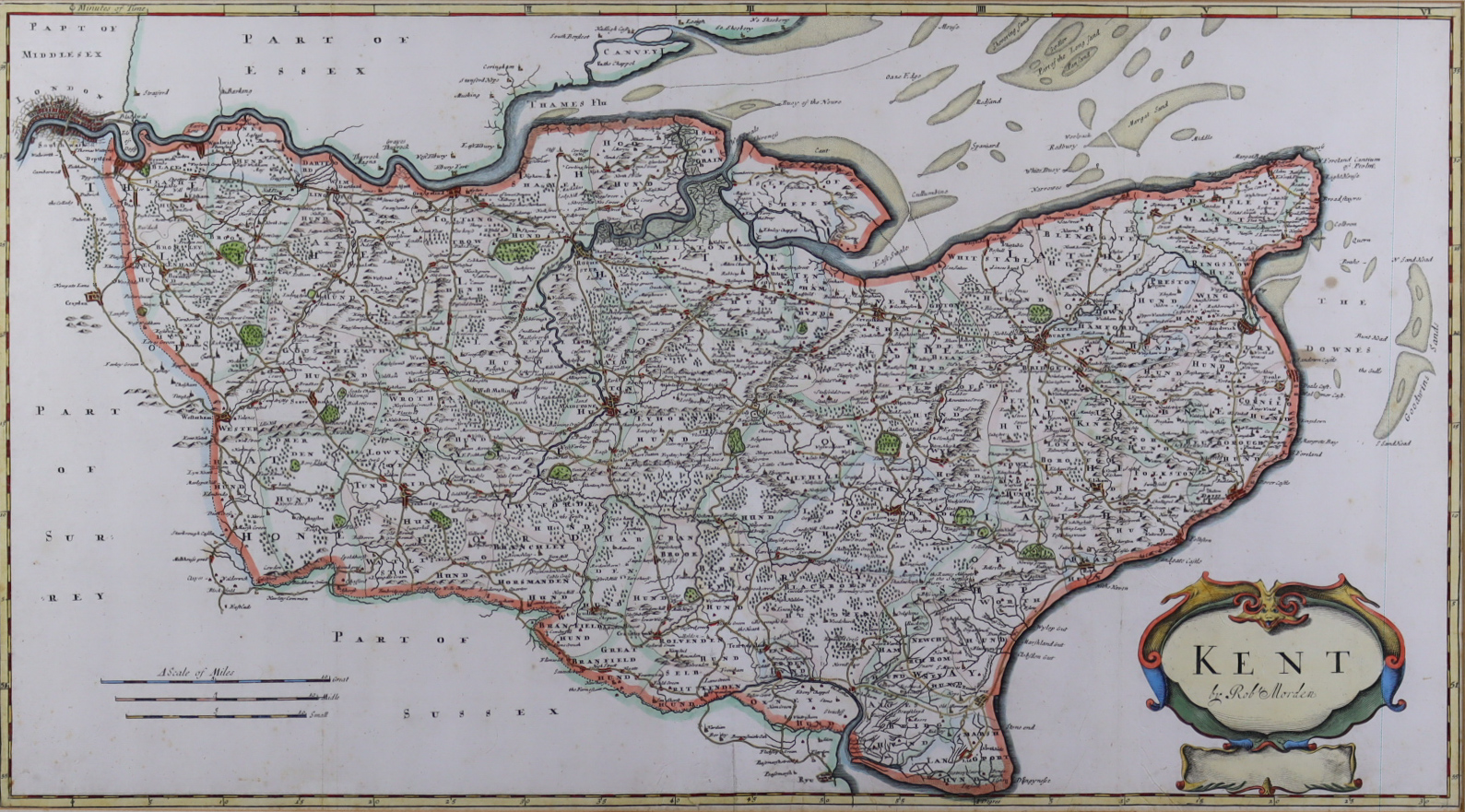 Robert Morden (fl.1650-1703) - Two coloured engravings - Map of Kent, 13.75ins x 24.75ins, and Map