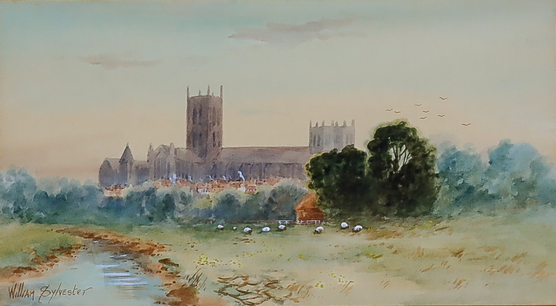 """William Sylvester (19th/20th Century) - Watercolour - """"Canterbury from the Meadows"""" - View looking"""