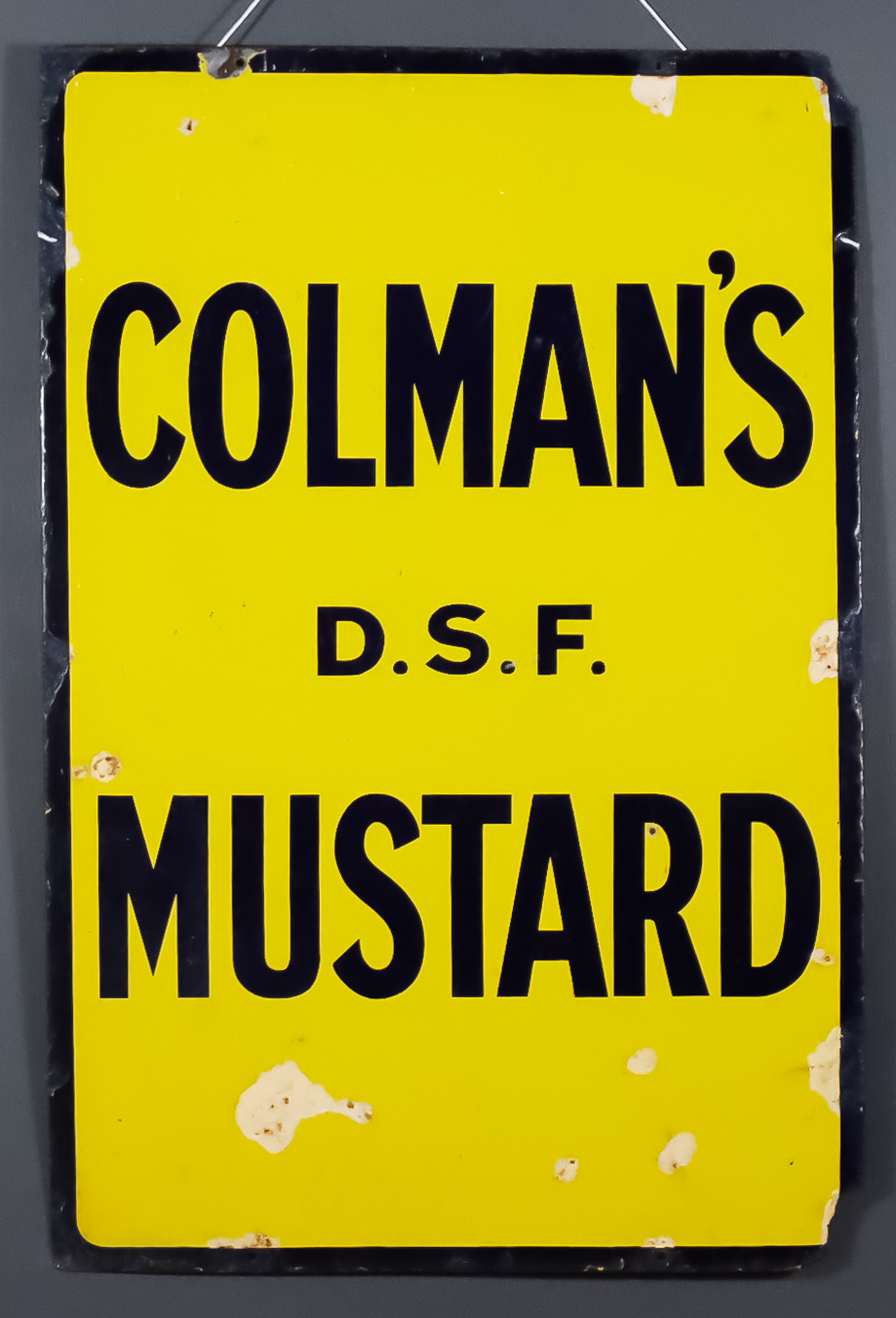 """A """"Colman's D.S.F. Mustard"""" Enamel Advertising Sign, Early 20th Century, 36ins x 24ins"""