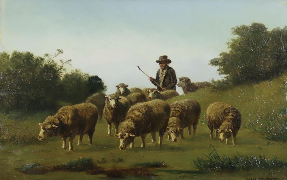 Edouard Woutermaertens (1819-1897) - Oil painting - A shepherd tending his flock, signed, mahogany