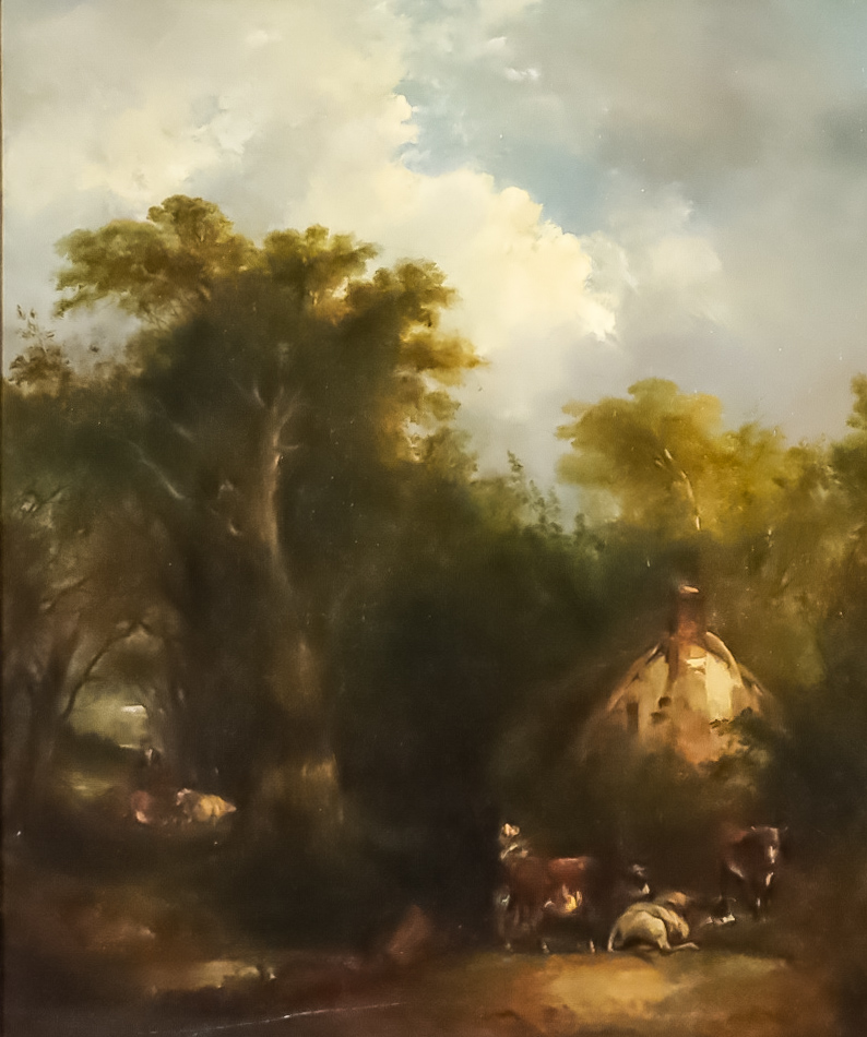 """Richard H. Hilder (1813-1852) - Oil painting - """"Figures by a Country Cottage"""" - Rural landscape with"""
