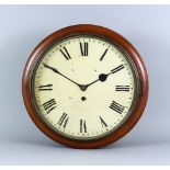 A Victorian Mahogany Cased Dial Wall Clock, the 12ins diameter painted metal dial with Roman