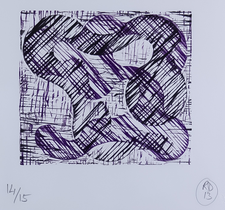 "Richard Deacon (born 1949) - Relief engraving - ""1 + 1 = 10 Black/Purple (2013)"", No. 14 of 15, with"