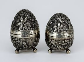 A Pair of Edward VII Silver Gilt Egg-Shaped Salt and Pepper Pots, by William Hutton & Sons Ltd,