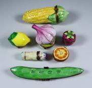 Seven Limoges Porcelain Fruit and Vegetable Trinket Box Models, Late 20th Century, incuding - corn