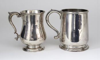 Two Edward VII Silver Tankards, one by Charles Stewart Harris, London 1907, of plain polished