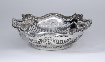 An Edward VII Silver Circular Basket, by Sibray, Hall & Co Ltd., London 1902, and retailed by Walter