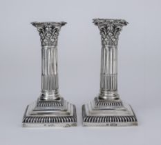 A Pair of George V Silver Pillar Candlesticks, By Mappin & Webb, Sheffield 1916, with Corinthian